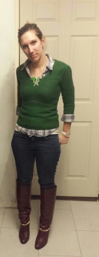 Checked shirt with jumper and jeans. Mixing up gem tones. And gold detailing on boots and watch