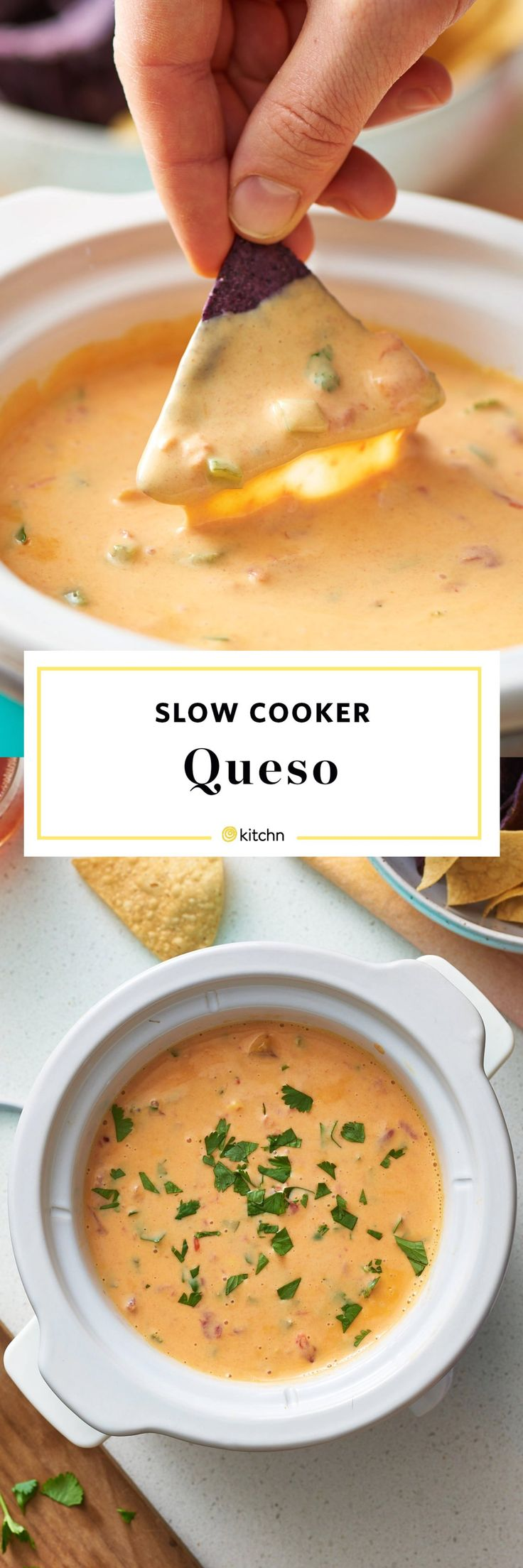 Slow Cooker Queso Dip Recipe. Looking for simple and easy recipes and ideas for food for a super football or super bowl party? This crockpot or crock pot cheese dip made with velveeta is an amazing addition to a spread of appetizers and hot or warm dips and crowd pleasers. Perfect for tailgates, house parties, potlucks, bbqs, and graduations. You'll need processed cheese like velveeta - white works too - hot sauce, and tortilla chips. Add ground beef or rotel if you like!
