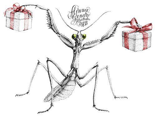 Illustration cadeaux joyeux Noël #illustration #pointillism #mantis #cadeau