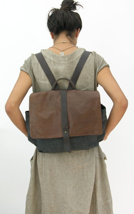 Mens Womens Canvas Backpack Rucksack Schoolbag LAPTOP Backpack Hadmade Leather Bag by ruthkraus. Explore more products on http://ruthkraus.etsy.com