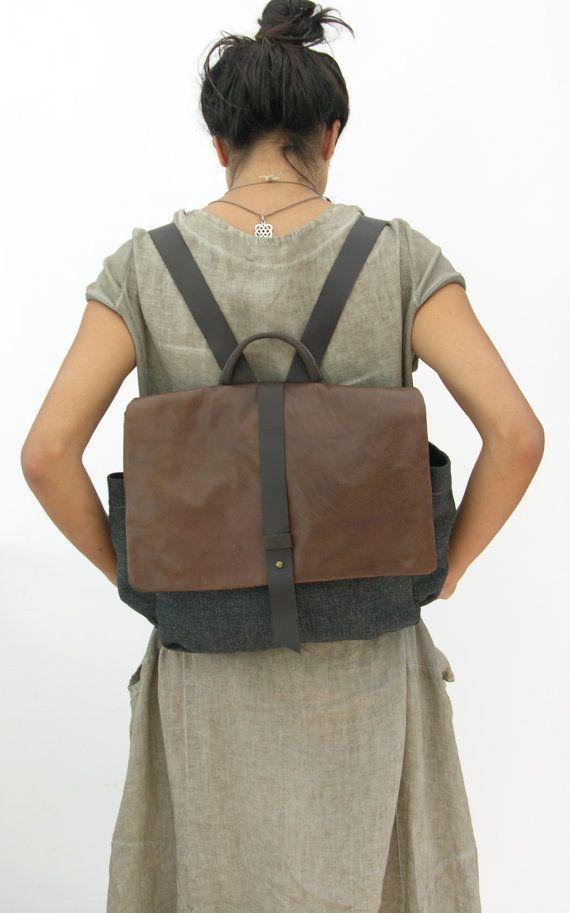Mens Womens toile sac à dos sac à dos cartable ordinateur portable sac à dos en cuir Hadmade