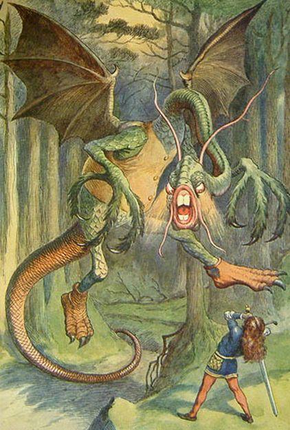 "John Tenniel illustration for Lewis Carroll's ""Jabberwocky"""