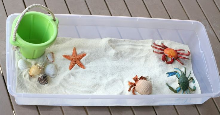 Baby/Toddler Beach Sensory Bin with Edible Sand!