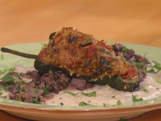 Tex-Mex Stuffed Poblanos with Manchego Sauce and Black Beans with ...