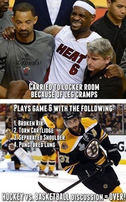 Hockey players are definitely some of the toughest athletes. Personally, I've played 5 games on a broken leg before and an entire season with a separated shoulder. An injury has never kept me off the ice.