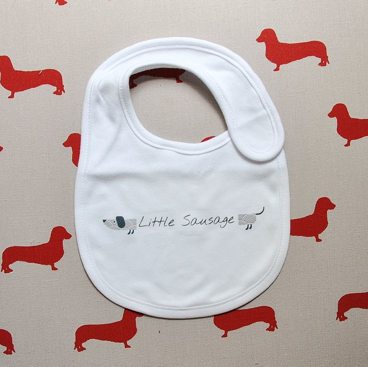 $15AU FREE POSTAGE (Australia wide) Dachshund Sausage Dog white unisex cotton bib for baby matching set available by StAubynEmporium on Etsy