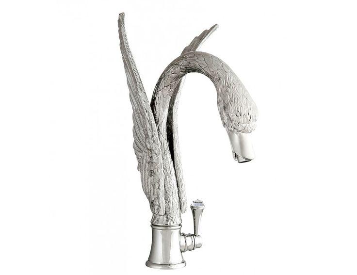 Swan faucet - swarovski details - artistic faucet- bronces mestre