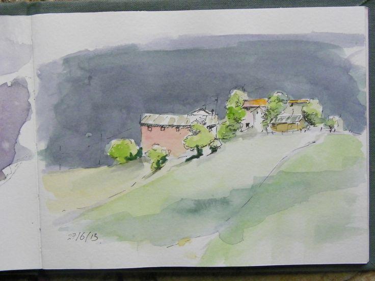 village #watercolor sketch #journaling in italy