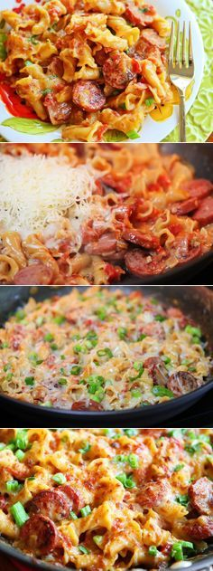 Spicy Sausage Pasta. He asked me to make this again FOUR times before we even got done eating! #pasta #easy #recipe #noodles #recipes