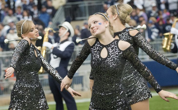 The wonderful Touch of Blue Majorette Squad from Penn State.  They've got such an award-winning tradition!  Thanks to the Penn State News for featuring them.  Touch of Blue majorette squad, Penn State-Illinois, Nov. 2, 2013