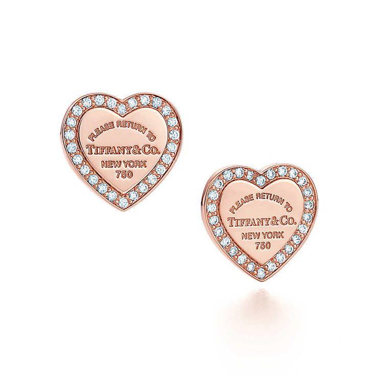 Return to Tiffany™ mini heart earrings in 18k rose gold with diamonds. | Tiffany & Co.