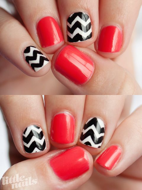 Love!Nails Art, Pink Nails, Gameday Nails, Red Nails, Nails Polish, Chevron Stripes, Coral Chevron, Red Black, Chevron Nails