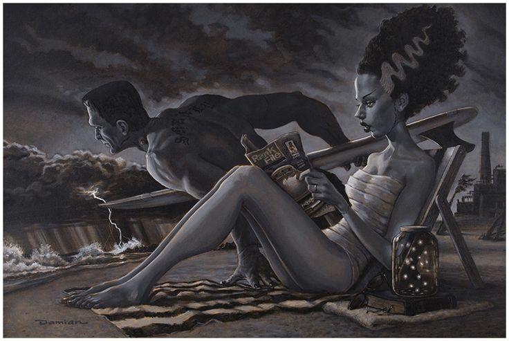 The Bathers by Damian Fulton Frankenstein Bride Surfing Fine Art Print