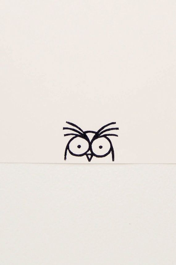 Owl stamp, bird stamp, coworker gift, funny owl, peekaboo stamp, simple owl, rubber stamp, owl birthday gift, owl gifts, carved stamp