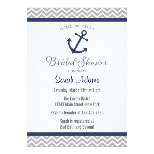 Nautical Anchor Chevron Bridal Shower Invitation