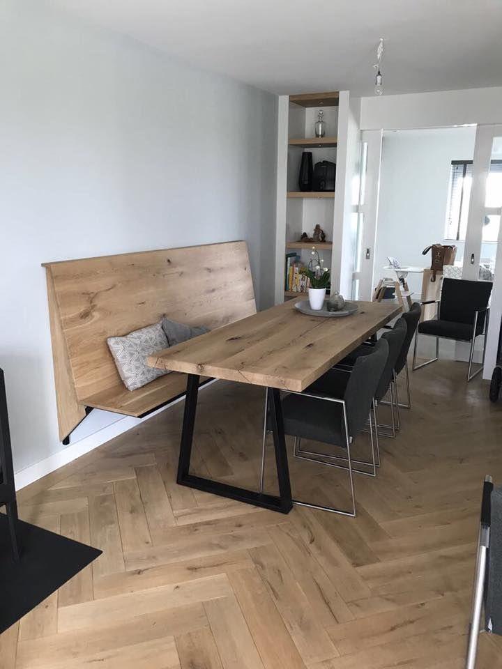Massief Eiken Boomstamblad.Portfolio In 2019 Tafel Met Bank I Zwaartafelen Kitchen Design