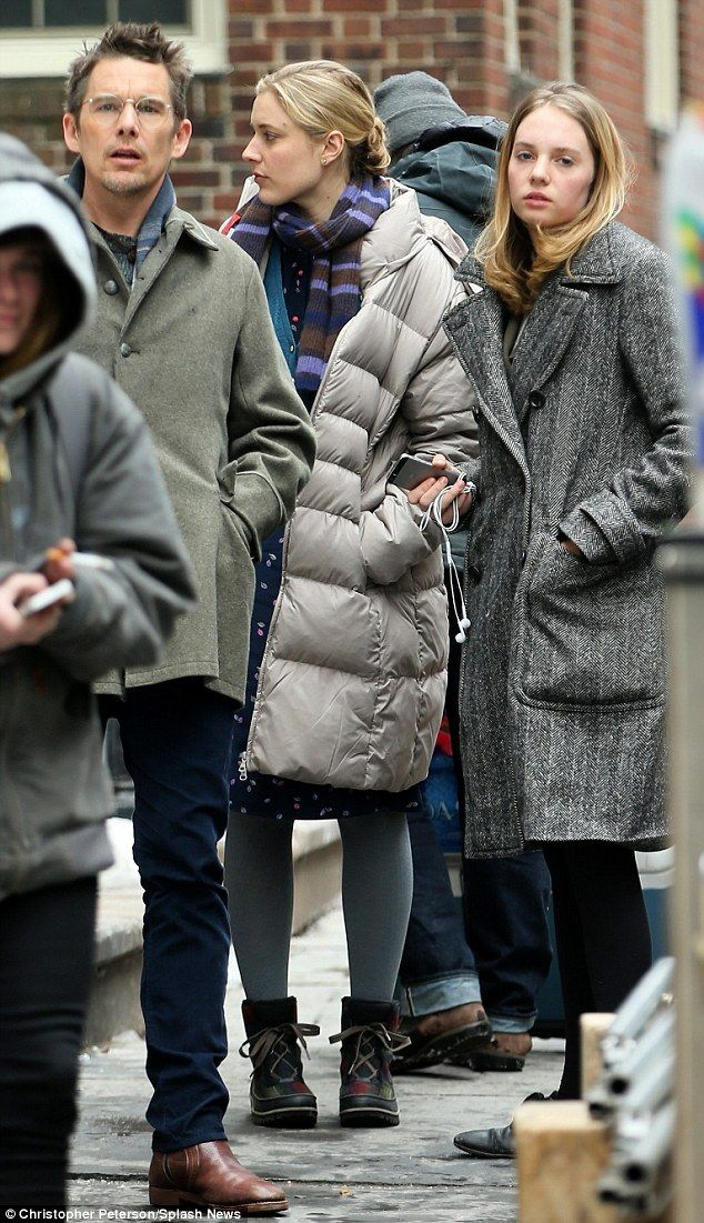 Maya's plan: Ethan Hawke's daughter Maya visited him on the set of Maggie's Plan in New Yo...
