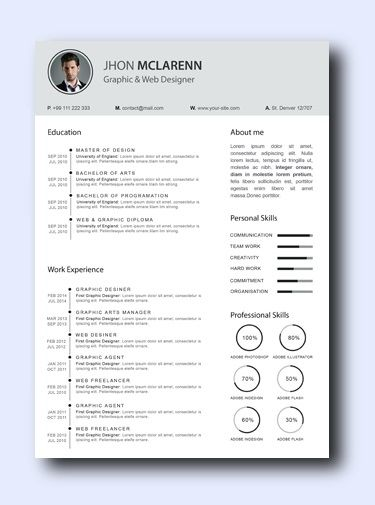Smoke Gray - Even non-creative jobs can benefit from a modern resume as it highlights your creativity, which is a sought-after trait that employers look for and it adds a conservative amount of color and design while remaining professional and clean.