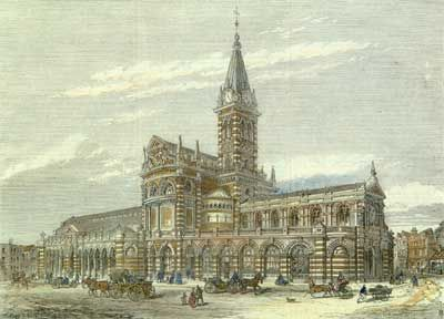 The Corn Exchange/market, Shrewsbury, Shropshire.  Sadly demolished are rebuilt in the late 60's