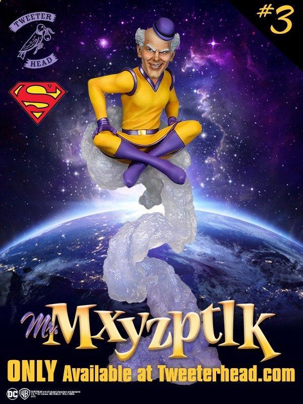 Mr Mxyzptlk Maquette Mxy(como também é chamado) é um duende da Quinta dimensão possuindo estatura diminuta e poderes até o momento não completamente mensurados. Seu nome verdadeiro é impronunciável na linguagem humana. É conhecido por jogar com o Superman através de travessuras mortais. O personagem tem um senso de humor por vezes mórbido mas em outras atua meramente como um palhaço. Seus poderes consistem em alterar a realidade a seu bel-prazer: Mr Mxyzptlk Maquette pode por exemplo d...