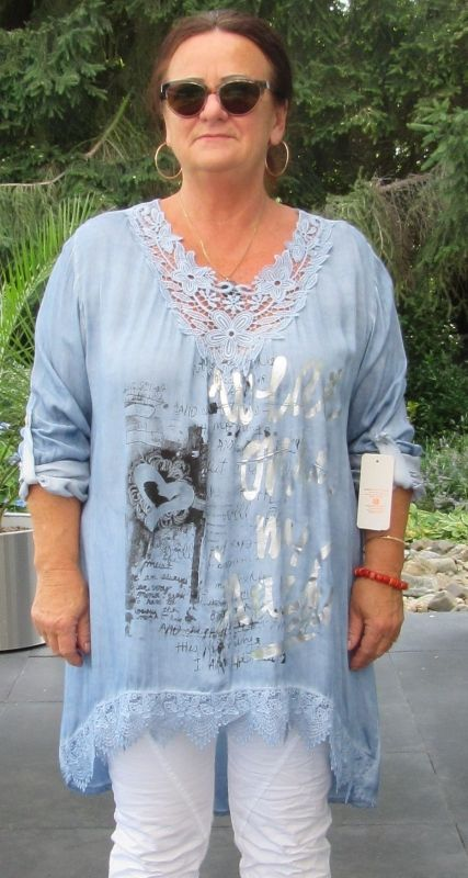 tuniek/blouse met print en kanten inzet/in meerdere kleuren