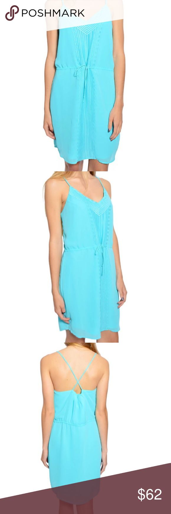 Charlie Jade Aqua V-neck dress! Charlie Jade aqua Vneck dress with straps on back, has a tie on front. Perfect for weddings, bridal showers and any other events! 100% polyester! Charlie Jade Dresses Midi