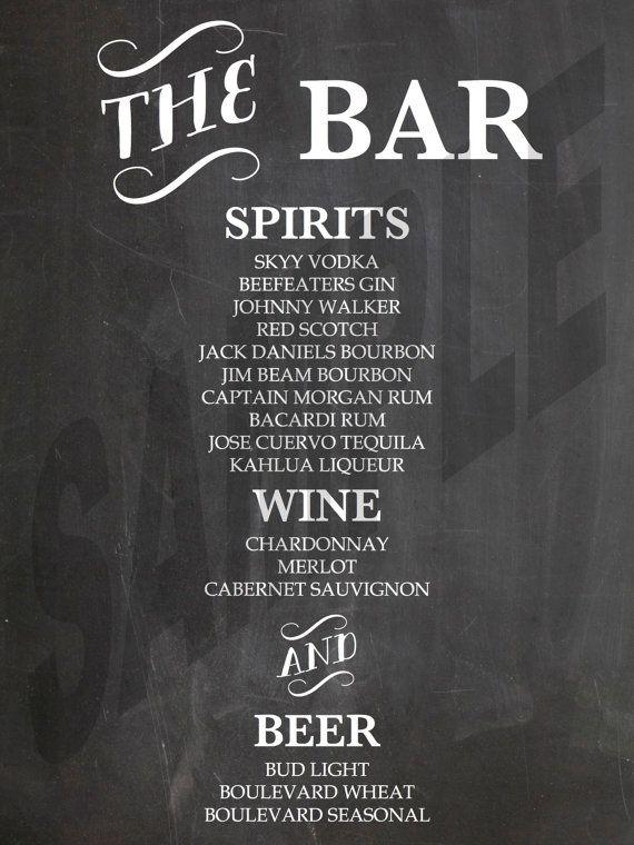 Drink menu bar menu chalkboards drinks menu chalkboards bar menu