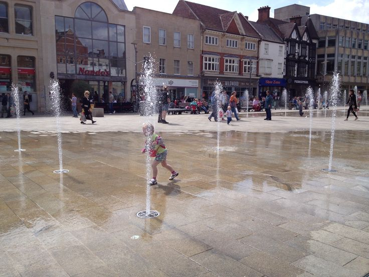 Peterborough City centre. My girls enjoying the fountains.