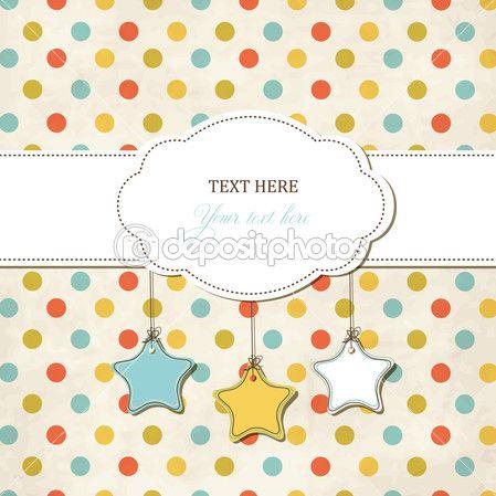 Винтажные скрап карточка с рамой и звездами на фоне полька точка — Векторное изображение © irur #13111610