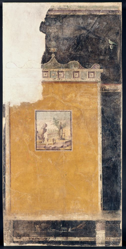 """Third-Style Wall Fresco,"" Wall Painting, Roman (Boscotrecase), Virginia Museum of Fine Arts. ///  This fresco is an example of the Third Pompeian Style in which a picture—here a landscape with a building—is painted like a decorative plaque against a solid colour. The bird in the upper right is perched on the arm of a candelabrum."