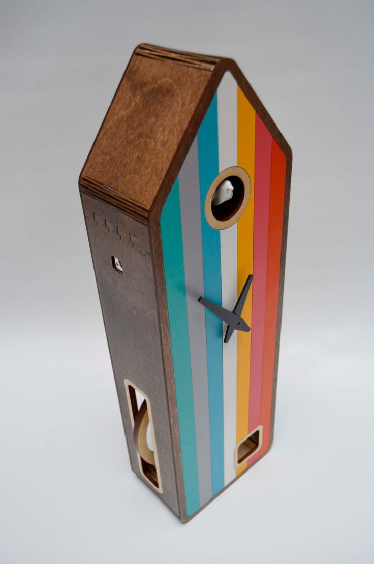 Color-House in Walnut Modern Cuckoo clock by pedromealha on Etsy https://www.etsy.com/listing/207406039/color-house-in-walnut-modern-cuckoo