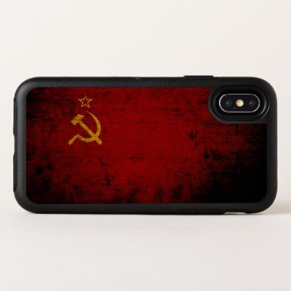 Black Grunge Soviet Union Flag OtterBox Symmetry iPhone X Case - black gifts unique cool diy customize personalize