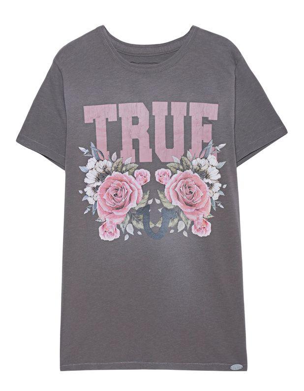 T-Shirt mit Print Braunes Baumwoll-T-Shirt im Used-Look mit Rundhalsausschnitt und Vintage-Labelprint auf der Vorderseite.  Perfekt kombiniert mit Sneakers und Hoodie für einen lässigen Style...