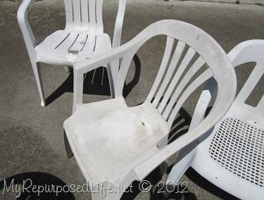 Spray paint those ugly, worn plastic patio chairs!