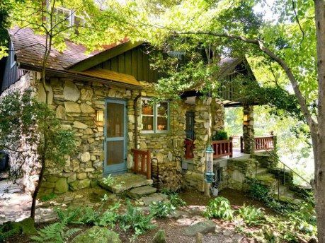Asheville north carolina arts and crafts stone cottage for Cheap cabin rentals in asheville nc