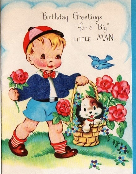 Birthday card - little boy carrying puppy in basket