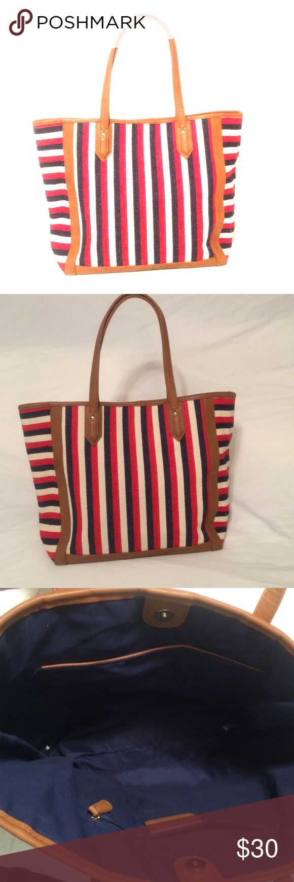 🚛MOVING SALE🚛Striped Shoulder Bag Striped red white and blue with brown outlining. Super cute and in amazing condition Charming Charlie Bags Shoulder Bags
