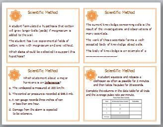 32 Scientific Method Task Cards will provide Middle and High School Students with Review and Reinforcement of the concepts found while studying the Scientific Method. The following concepts are covered in this set of Task Cards: Collecting Data, Theory, Inference, Data Tables, Hypothesis, Observations, Steps of the Scientific Method, Controlled Experiments, Dependent Variables, Independent Variables, Control Group, Writing a Hypothesis, Sample Size, Conclusions, Error, Experimental Results…