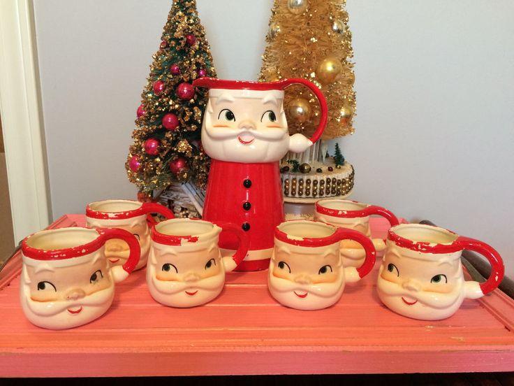 Vintage Holt Howard Christmas Santa Pitcher & Cups/Mugs Original Box