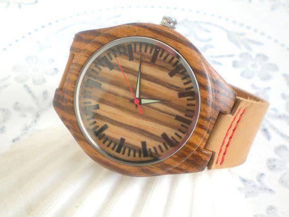 Armbanduhr Männer Holzuhr braun Echt Leder mens von JaquisaSchmuck
