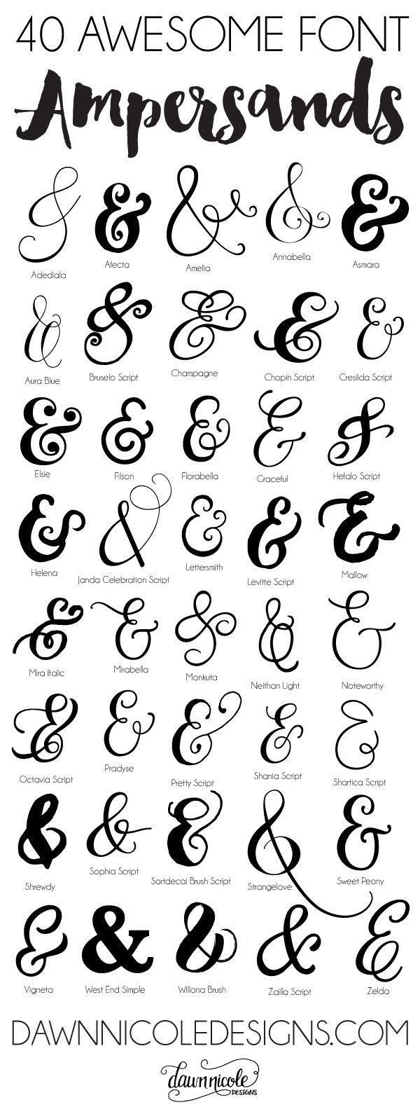 40 Awesome Font Ampersands | dawnnicoledesigns.com