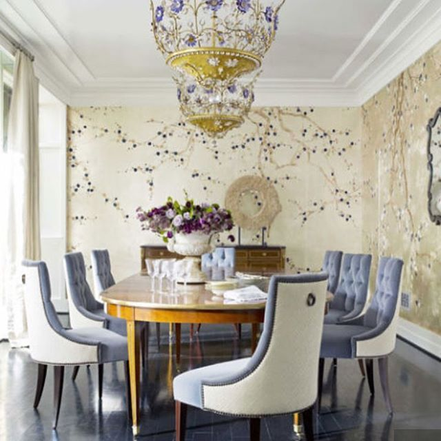 A French Chandelier And De Gournay Plum Blossom Wallpaper Give The Dining Room Shimmery Glamour Thomas Pheasant Chairs By Baker Are Covered In