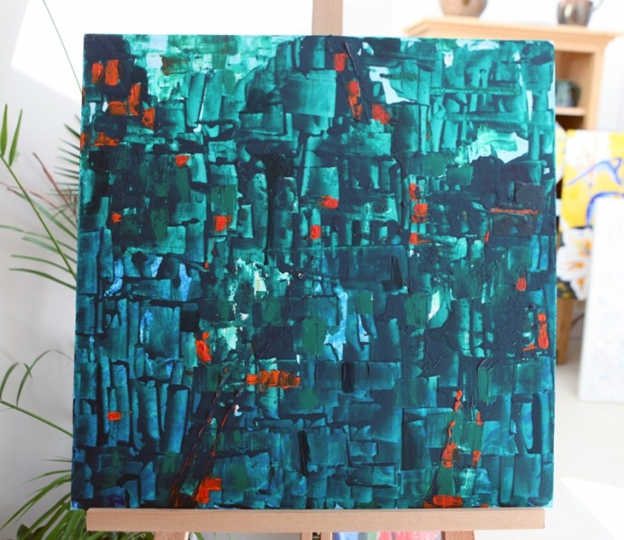 Sandra Menant - ORIGINAL AND SIGNED ABSTRACT PAINTING ON STRETCHED CANVAS, IN ACRYLIC AND VARNISHES. Sliding squares and rectangles over a deep blue background: it draws you in and you feel warmth and a wateriness which can be associated to a canoe trip in a tropical mangrove. £350