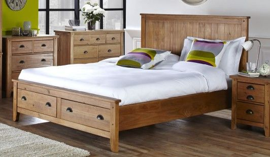 150cm bedstead wild coast 2 end drws brushed pine