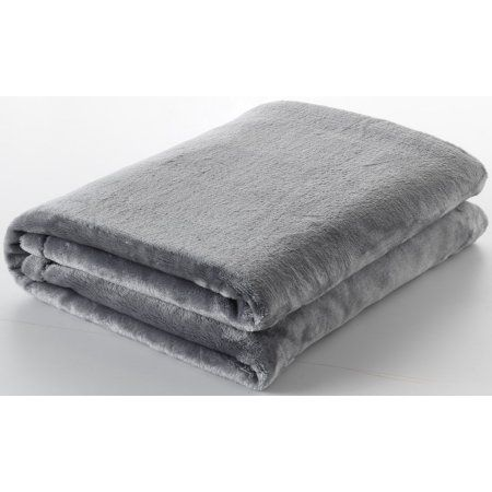 Ottomanson Comfy Soft Touch Velvet Plush Polyester Throw Blanket, 49 inch X 61 inch, Gray