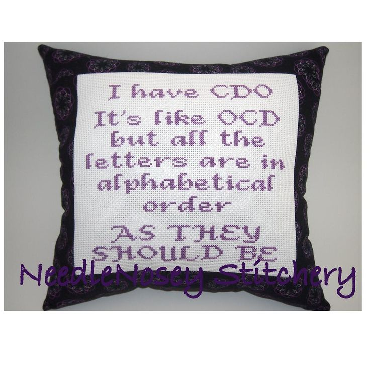 Cross Stitch Pillow Funny Quote Purple Pillow OCD by NeedleNosey