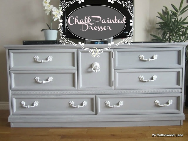 Chalk painted furniture Annie Sloan Paris Grey that can be found in SW Essential Grey 6002 or Behr Sparrow 780F