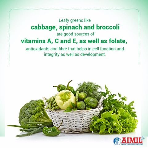 #LeafyGreens like #cabbage, #spinach & #broccolli are good sources of Vitamins A, C & E, as well as folate, antioxidants & fibre that help in cell function & integrity as well as development .