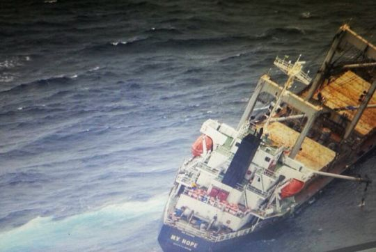 Dramatic scene as stricken ship wallows in seas off Phuket