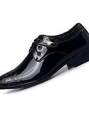 Masculino-Rasos-Conforto Sapatos formais-Rasteiro-Preto Cor da Pele-Couro-Casual